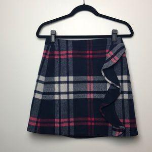 J. Crew l NWT Plaid Wool Ruffle Mini Skirt